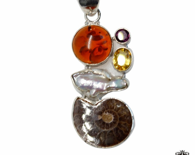 Ammonite fossil Amber Pearl Citrine Amethyst 925 Sterling Silver + BONDED Copper Pendant Snake Chain & Worldwide Shipping p4858