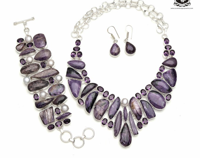 Let is Flow! AAA grade Russian CHAROITE 925 Sterling Silver + Copper Bonded Necklace Bracelet & Earrings ALL Included SET571
