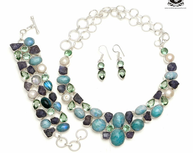 Grab the deal of the Day! Green Moonstone Rough Tanzanite Sterling Silver + Copper Bonded Necklace Bracelet & Earrings ALL Included SET596