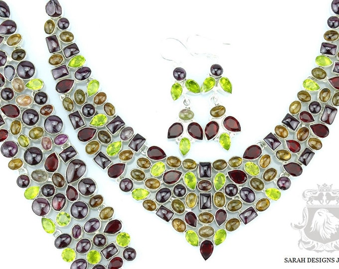 UTTERLY Classy WATERMELON TOURMALINE 925 Solid Sterling Silver Necklace Set 119