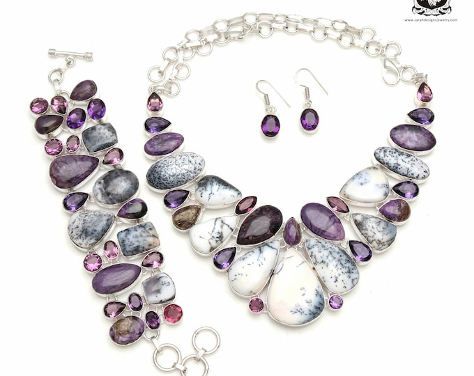 Captain Cool! MERLINITE Dendritic Opal Brazil AMETHYST 925 Sterling Silver + Copper Bonded Necklace Bracelet & Earrings ALL Included SET593