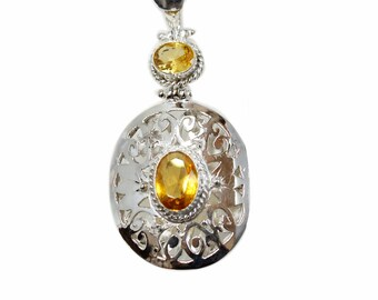 Filigree Oval Cut Citrine Vintage Antique 925 Sterling Silver + BONDED Copper Pendant Snake Chain & Worldwide Shipping p4536