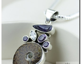 Placenticeras AMMONITE Fossil Sugilite Amethyst Clear Topaz 925 SOLID Sterling Silver Pendant + 4mm  Chain & FREE Worldwide Shipping P10