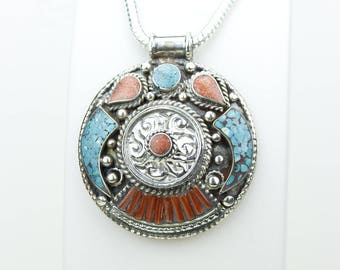 Grab it now! Coral Turquoise Native Tribal Ethnic Vintage Nepal Tibetan Jewelry OXIDIZED Silver Pendant + Chain P3929
