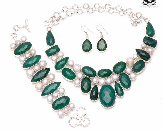 Check this out! EMERALD Genuine PEARL 925 Sterling Silver + Copper Bonded Necklace Bracelet & Earrings ALL Included SET505