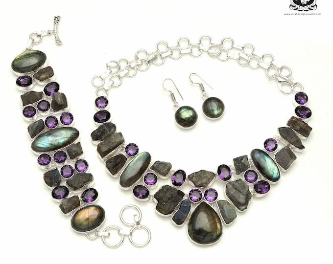 Buy it like a Psycho! Canadian LABRADORITE Amethyst 925 Sterling Silver + Copper Bonded Necklace Bracelet & Earrings ALL Included SET551