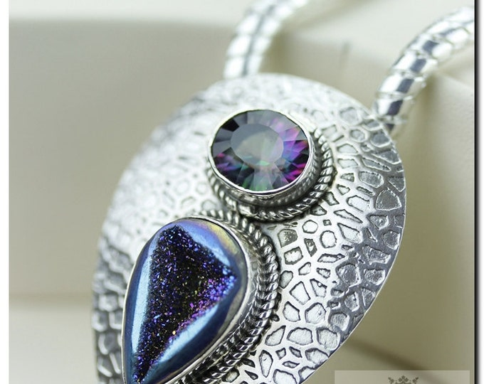 Titanium Window Druzy Drusy Mystic Topaz Italian Made 925 SOLID Sterling Silver Pendant & 4mm Snake Chain + FREE Worldwide Shipping