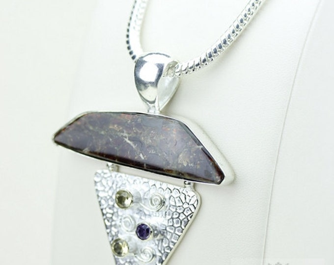 Flat Finish! GENUINE Canadian AMMOLITE 925 Solid Sterling Silver Pendant + 4mm Snake Chain & FREE Worldwide Shipping P1496