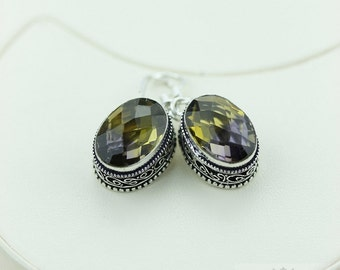 Ametrine (Lab Created) Vintage Filigree Setting 925 SOLID (Nickel Free) Sterling Silver Dangle Earrings e471