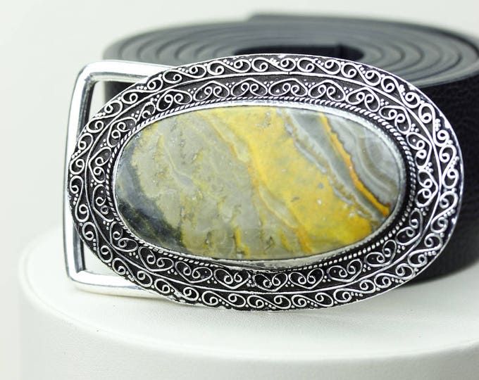 Indonesian BUMBLE BEE Jasper Vintage Filigree Antique 925 Fine S0LID Sterling Silver + Copper BELT Buckle T71
