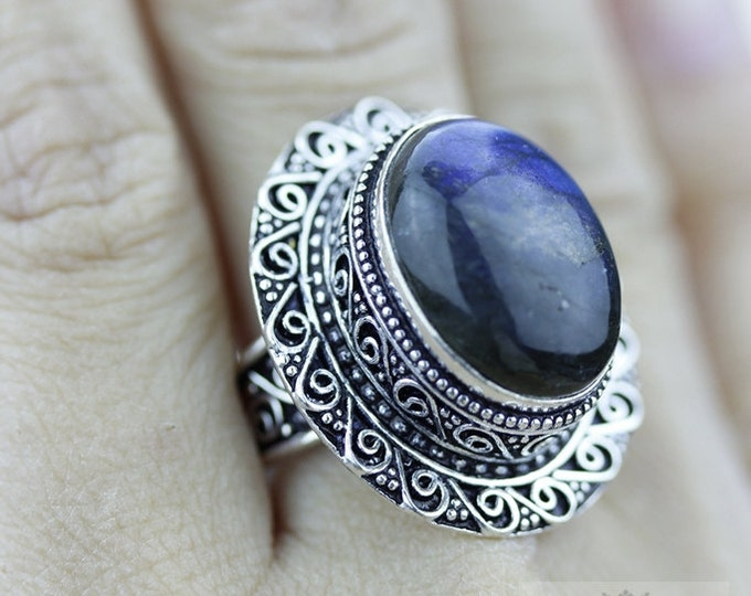 Size 8.5 Labradorite 925 S0LID (Nickel Free) Sterling Silver Vintage Setting Ring  r1805