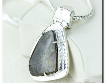 Italian Setting! GENUINE Canadian AMMOLITE 925 Solid Sterling Silver Pendant + 4mm Snake Chain & FREE Worldwide Shipping P1614