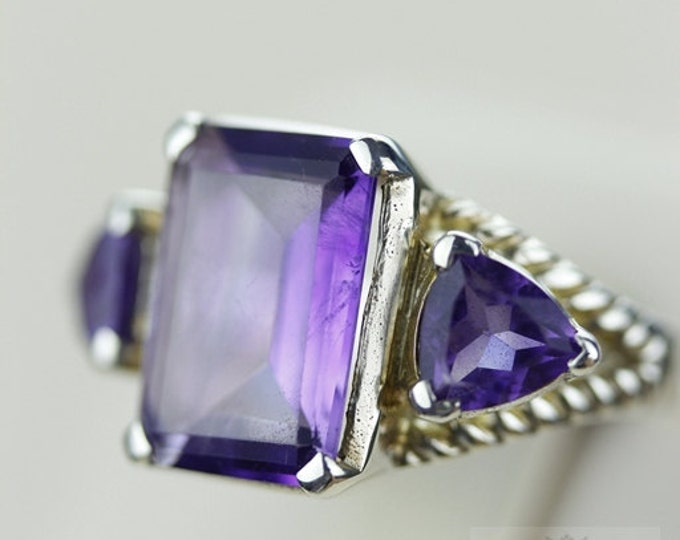 SIZE 5.5 AMETHYST 39 CT (Nickel Free) 925 Fine S0LID Sterling Silver Ring & Free Worldwide Express Shipping r760