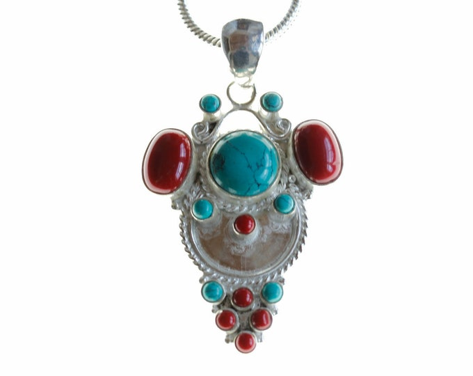 Happy Face Turquoise Coral 925 Sterling Silver + BONDED Copper Pendant Chain & Worldwide Shipping p4480