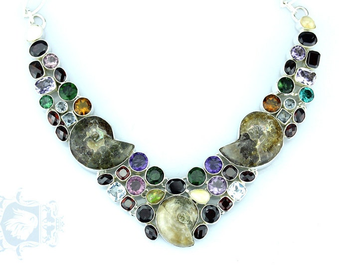 Madagascar AMMONITE FOSSIL Multi-Stone 925 Solid Sterling Silver Necklace N26