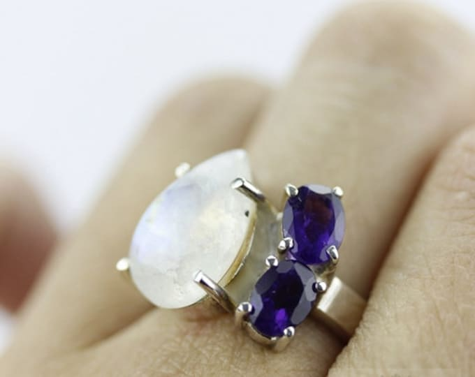 Size 5 RAINBOW MOONSTONE IOLITE (Nickel Free) 925 Fine Sterling Silver Ring & Free Worldwide Express Shipping r114