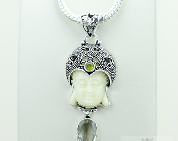 Classy Creation! Kwan Yin Guanyin BUDDHA Goddess Face Moon Face 925 S0LID Sterling Silver Pendant + 4MM Chain & Free Shipping p3802