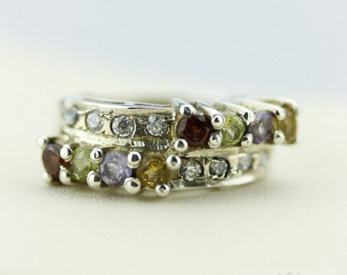 SIZE 5.5 Topaz CITRINE PERIDOT (Nickel Free) 925 Fine Sterling Silver Ring & Free Worldwide Express Shipping  r51