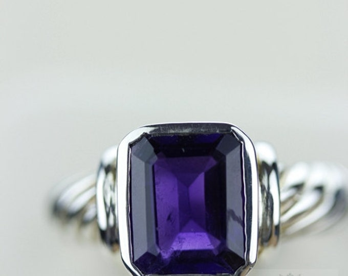 Size 6.5 AMETHYST COIL SETTING (Nickel Free) 925 Fine S0LID Sterling Silver Ring & Free Worldwide Express Shipping r757