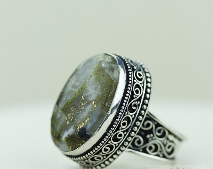 Chrome Tourmaline AGGREGATE 925 S0LID (Nickel Free) Sterling Silver Vintage Setting Ring & FREE Worldwide Express Shipping R1708