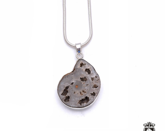 Pyrite Ammonite Fine 925+ 975 S0LID Sterling Silver Pendant + Snake Chain P6259