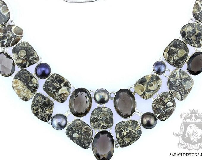 Turritella Jasper Fossil Agate Smokey Quartz Pearl 925 SOLID Sterling Silver Necklace
