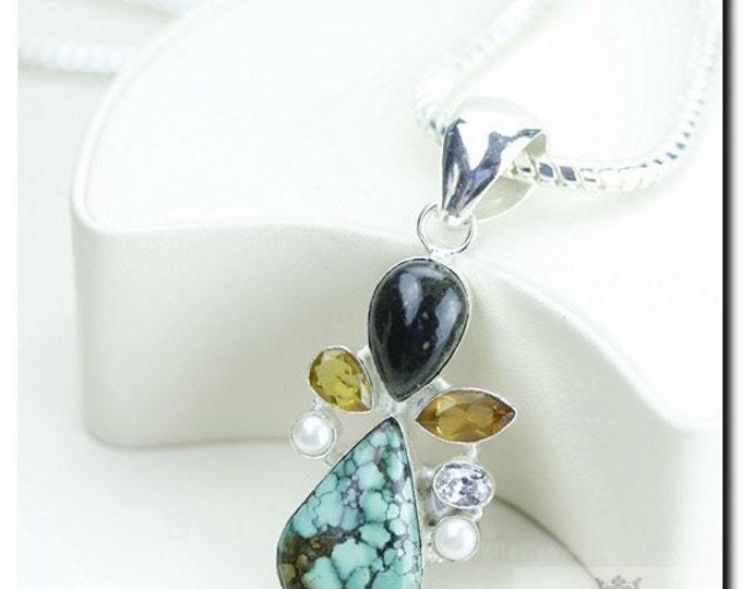 Made in Italy! Tibet Turquoise Citrine Pearl 925 SOLID Sterling Silver Pendant + 4mm Snake Chain & FREE Worldwide Shipping p1856