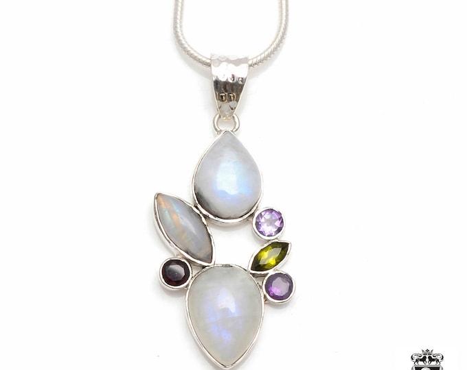AAA grade CEYLON Rainbow MOONSTONE Amethyst Peridot Garnet Fine 925+ 975 S0LID Sterling Silver Pendant + Snake Chain P6004