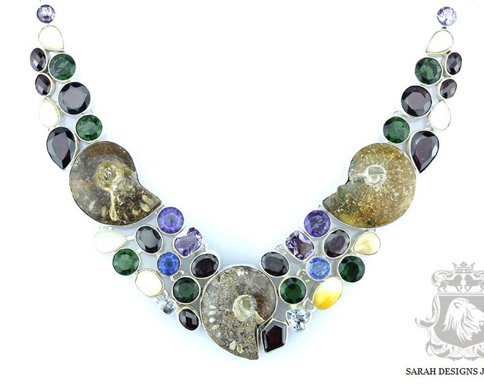 Ammonite Fossil MULTI Colour Tourmailine 925 SOLID Sterling Silver NECKLACE