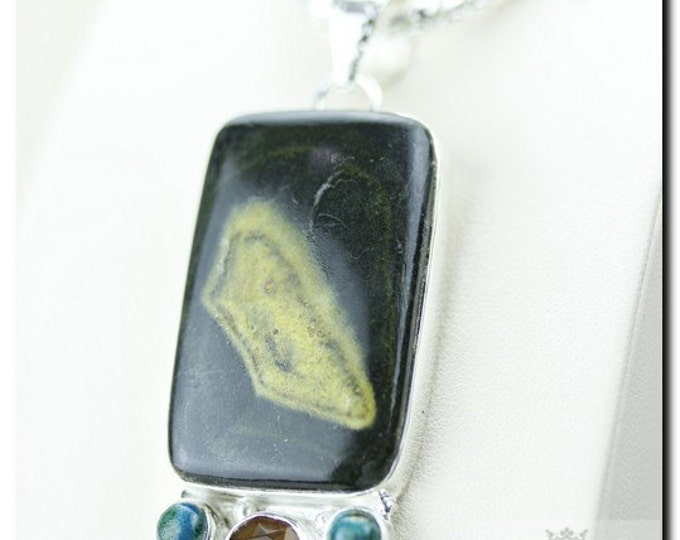 ECLIPSE Jasper CITRINE TURQUOISE 925 Solid Sterling Silver Pendant + 4mm Snake Chain & Free Worldwide Shipping P1745