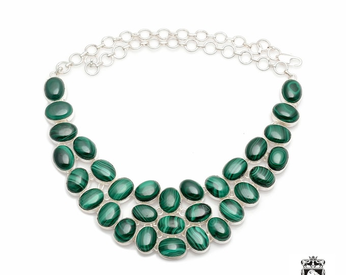 GENUINE Canadian MALACHITE Multi Layered U-Shaped Chocker Style 925 Sterling Silver Copper Bonded Necklace Worldwide Tracked Shipping N0056