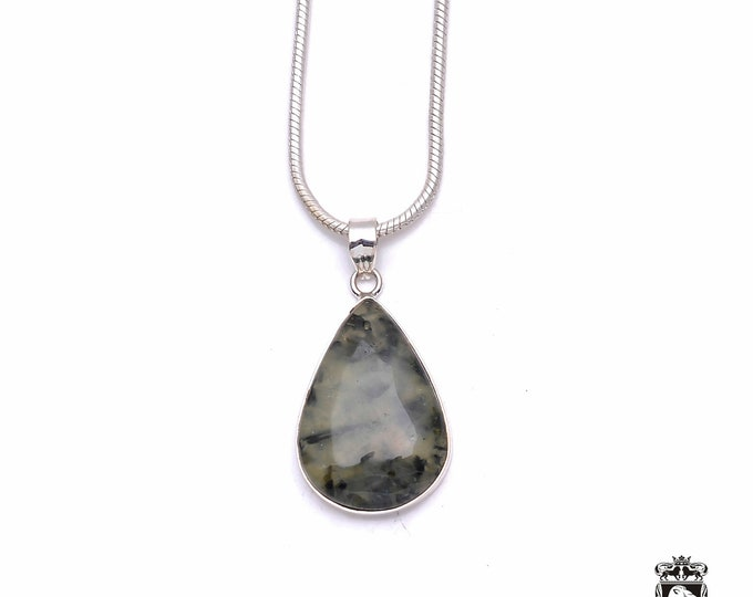 Moss Agate Fine 925+ 975 S0LID Sterling Silver Pendant + Snake Chain P6339