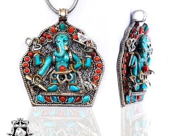 Genuine Turquoise Ganesha Ghau Prayer Box Pendant 4MM Italian Snake Chain N71-2