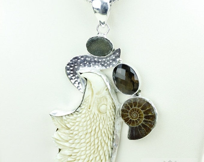 Smoky Topaz Ammonite Eagle TOTEM Goddess Face Moon Face Bone Carving 925 S0LID Sterling Silver Pendant + 4MM Chain p3884
