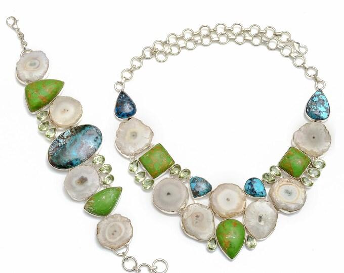 Shattuckite Mohave Turquoise Stalactite Necklace Bracelet SET1082