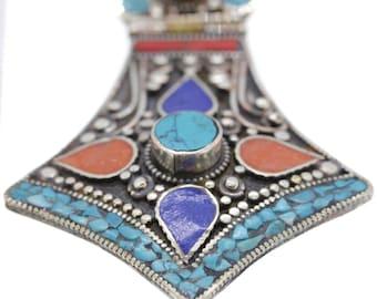 4 Inch Lapis Coral Turquoise Tibetan Silver Nepal Pendant 4MM Italian Snake Chain N8