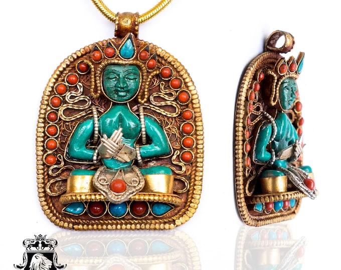 Avalokiteśvara Ghau Tibetan Prayer Box Pendant 4MM Italian Snake Chain N178