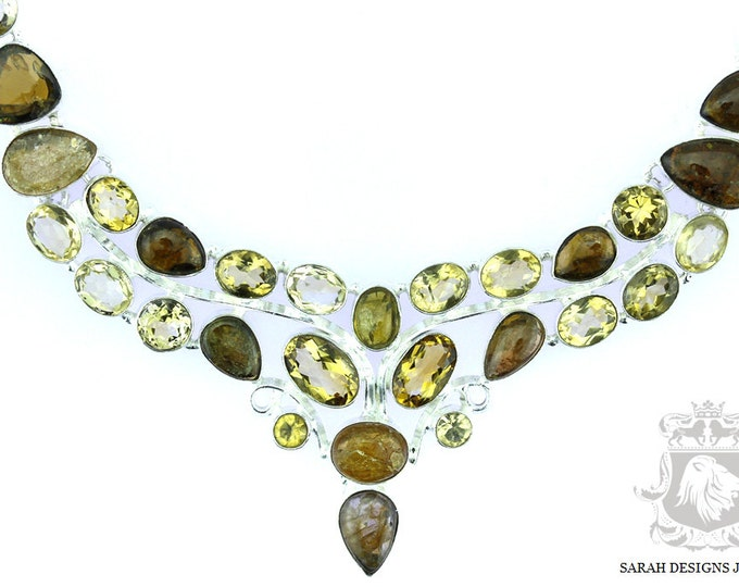 Fancy Setting!! RUTILE Rutilated Quartz Citrine 925 SOLID Sterling Silver Necklace