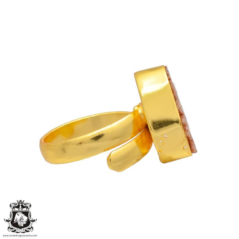 Size 9 Adjustable Rhodochrosite Stalactite Geode 24K Gold Plated Ring GPR261 Size 7.5