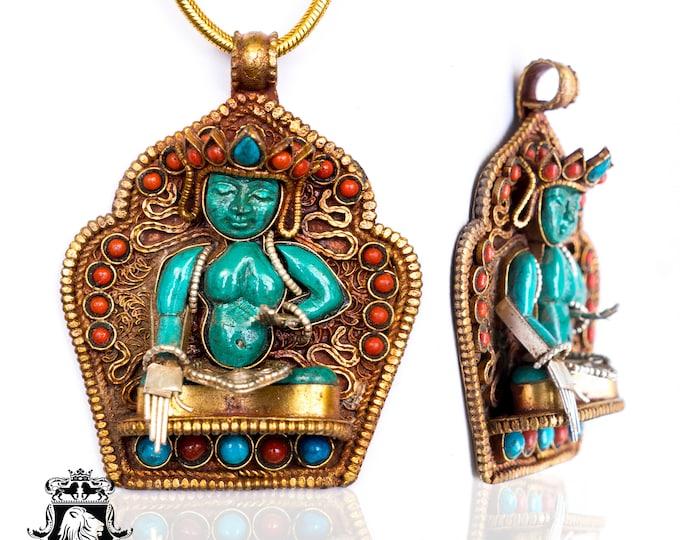 Mahāvairocana Buddha Ghau Tibetan Prayer Box Pendant 4MM ItalianSnake Chain N180