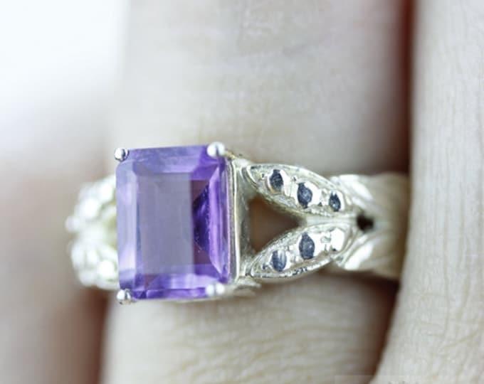 SIZE 4.5 AMETHYST 925 Fine Sterling Silver Ring  r585