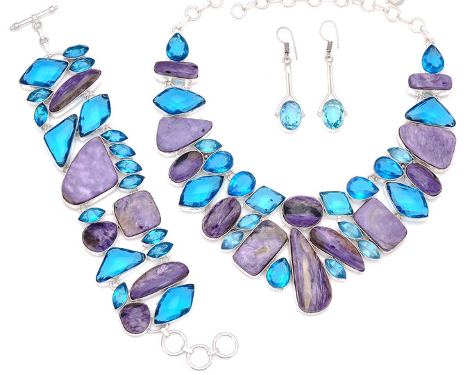 Charoite Blue Topaz Necklace Bracelet Earrings Set 839