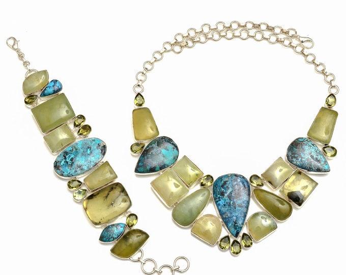 Prehnite Shattuckite Necklace Bracelet SET1067