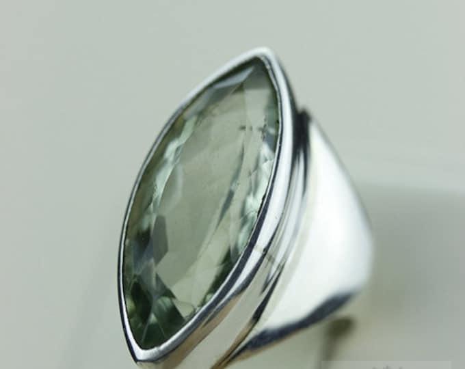 Size 5.5 GREEN AMETHYST PRASIOLITE (Nickel Free) 925 Fine S0LID Sterling Silver Ring  r1211