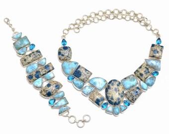 Larimar K2 Jasper Necklace Bracelet SET1052