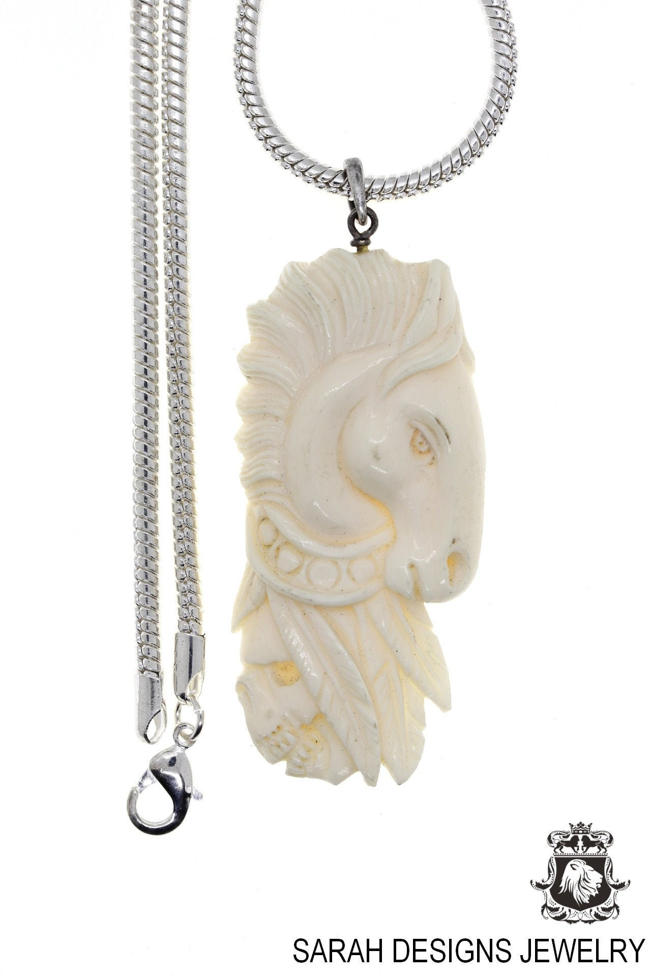 Conch Shell Lady Tibetan Repousse Silver Pendant 4MM Italian Snake Chain N470