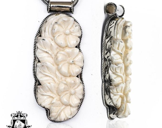 Bermuda Buttercup Tibetan Repousse Silver Pendant 4MM Italian Snake Chain N151