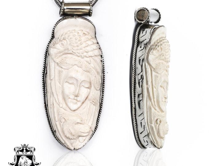 Lady Bear Eagle Tibetan Repousse Silver Pendant 4MM Italian Snake Chain N164