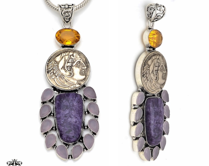 Poseidon The God of Seas Reissued Greek Coin Pendant 4MM Italian Snake Chain P8623