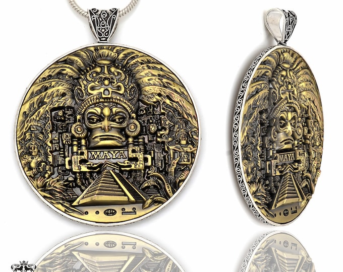 Double Sided Massive 4 Inch Solid Bronze Coin Pendant 4MM Italian Snake Chain P8703